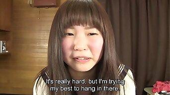 Subtitled Japanese schoolgirl pee desperation game in HD