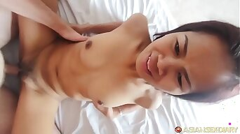Horny Asian MILF with tight pussy gets fuck & facial